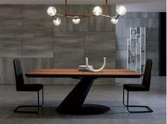 Extending rectangular wooden dining table THOR - Ozzio Italia