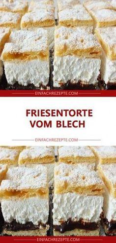 Friesentorte vom Blech - Torten , Friesentorte vom Blech Frieze cake from the tin Backen. Food Cakes, German Bakery, Cake Recipes, Dessert Recipes, Gateaux Cake, Cake & Co, Chocolate Desserts, Cakes And More, No Bake Desserts