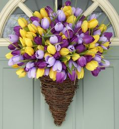 Spring Wreath  Tulip Wreath  Summer Wreath by countryprim on Etsy, $49.00
