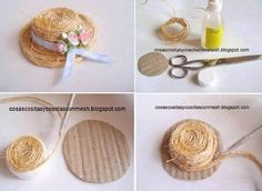 Straw hat how-to Diy And Crafts, Crafts For Kids, Paper Crafts, Jute Crafts, Diy Dollhouse, Dollhouse Miniatures, Bijoux Wire Wrap, Mini Craft, Diy Hat