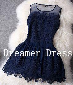 Navy+Blue+Cocktail+Dress+Short+Prom+Dress+Short+by+DreamerDress,+$95.00