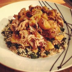Day #109 - moroccan style chicken & apricot chickpea stew on a bed of spinach couscous