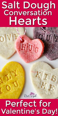 Valentine's Day salt dough conversation hearts is a simple craft that kids and adults can do! These conversation hearts are perfect for simple, DIY decor or just a fun project for the kids to celebrate Valentine's Day! #valentinesday #crafts #kidsactivities #diygifts #diydecor #valentine #conversationhearts #holidays #valentine