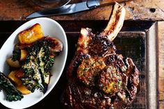 Oven-roasted rib-eye steak with porcini and port butter / William Meppem