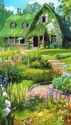 Casa de Kiki Studio Ghibli Art, Studio Ghibli Movies, Aesthetic Backgrounds, Aesthetic Wallpapers, Animes Wallpapers, Cute Wallpapers, Aesthetic Art, Aesthetic Anime, Film Animation Japonais