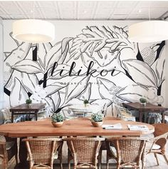 Wellness Editor Brooke Klauer shares a few uplifting and inspiring thoughts from around the… – restaurante Coffee Shop Design, Cafe Design, Store Design, Mural Art, Wall Murals, Cafe Interior, Interior And Exterior, Landscaping Around House, Landscaping Design