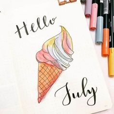 ice-cream bullet journal layout idea I loved collecting spreads for this amazing theme! Ice Cream Bullet Journal ideas to make you long for summer or ice creams! Bullet Journal August, Bullet Journal Cover Ideas, Bullet Journal Themes, Bullet Journal Layout, Journal Covers, Bullet Journal Inspiration, Journal Pages, Journal Ideas, Tittle Ideas