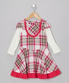 Take a look at this Fuchsia Plaid Linen-Blend Layered Dress - Toddler & Girls by Jupon by Baby Nay on #zulily today!