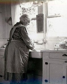 Grandma's apron had many uses. This brings back memories of my great-grandmother. Boy, could she peel potatoes fast!