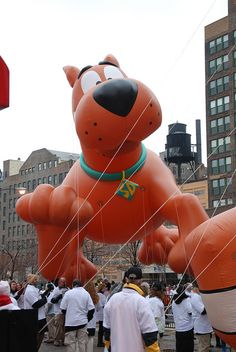 Scooby Doo waits in the balloon staging lot during the 2010 McDonald's Thanksgiving Parade.