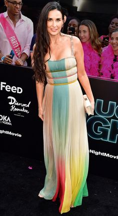 Demi Moore in a colorblock Dior dress
