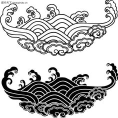 Chinese Patterns, Japanese Patterns, Japanese Art, Nouveau Tattoo, Cloud Tattoo, Dark Drawings, 5 Elements, Tibetan Art, Chinese Symbols