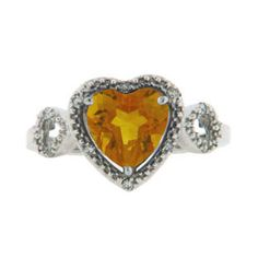 Diamond Heart Shaped Citrine Birthstone Sterling Silver Ring Available Exclusively at Gemologica.com