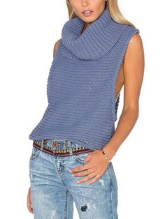 Steel Blue Chunky Knitted Roll Neck Race Back Sleeveless Sweater