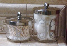 Set of 2 Personalized Acrylic Canisters With Chrome Lids