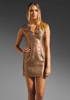 LADAKH Shop Around Goddess Grid Brocade Dress in Copper