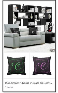 """This elegant """"Monogram Series"""" throw pillow will make a great addition to your collection. Customize it with a monogram of your families last name initial on it, and also makes a great gift for a couple.  This throw pillow is custom designed with your living room couch in mind. Accent any chase lounge, sofa, loveseat chair or even bed with this beautiful one of a kind design.  http://abstract001.wixsite.com/custommadedesigns"""