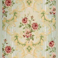 Rose Bouquets with Mica Stripes - Antique Wallpaper Rolls Antique Wallpaper, Interior Wallpaper, Original Wallpaper, Striped Wallpaper, Print Wallpaper, Decoupage, Victorian Farmhouse, Borders For Paper, Rose Bouquet