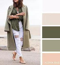 Not the jeans but love this color palette. Colour Combinations Fashion, Color Combinations For Clothes, Fashion Colours, Colorful Fashion, Color Harmony, Color Balance, Green Colour Palette, Green Colors, Colour Schemes