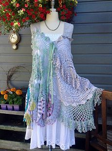 Luv Lucy crochet dress tunic Lucy's spring by LuvLucyArtToWear, Boho Outfits, Pretty Outfits, Vintage Outfits, Moda Vintage, Vintage Lace, Freeform Crochet, Crochet Lace, Dress Up, Lace Dress