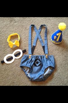 """A """"minion"""" themed, boys, first birthday outfit, custom ordered from """"Southern Sweet Boutique"""" on FACEBOOK. Contact me to place your custom order!"""