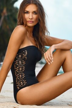 PilyQ Swimwear 2014 Lace Diva Strapless One Piece | Orchid Boutique