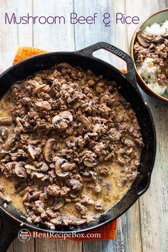 Mushroom Beef and Rice Recipe with Beef and Mushrooms Recipe on rice   @bestrecipebox #beef #groundbeef #mushroomseasy