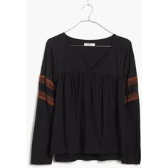 MADEWELL Lace-Inset Peasant Tee (330 MXN) ❤ liked on Polyvore featuring tops, almost black, lacy tops, geometric tops, madewell, embroidered peasant top and peasant tops