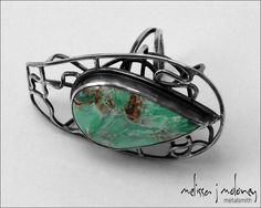 Australian Variscite and Sterling Silver Caged Cocktail Ring by Melissa Moloney on etsy.com