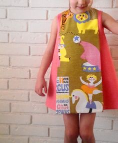 Under the big top dress. retro vintage circus carnival clown elephant ballerina pink 1960s inspired handmade by little ticket on etsy.