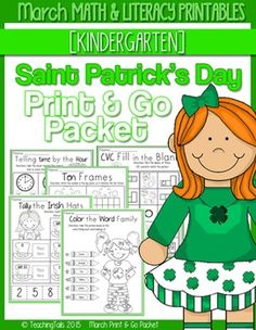 This Print & Go Packet for March or Saint Patrick's Day has many engaging activities and printables that follow Common Core Standards and lasts the entire month. The sheets are a great addition to any curriculum for morning work, literacy, math and writing centers, homework and for students who finish early.There is no preparation, lamination or special printing necessary for any of these sheets.