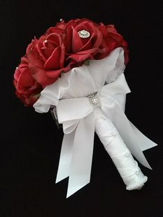 Red Rose Bouquet-Red Bridal by BecauseOfLoveFloral on Etsy