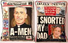 Look!  Brigid Berlin's Tabloid Needlepoint Pillows