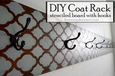 Kammy's Korner: DIY Coat Rack - Stenciled Salvaged board with hooks.  {Mudroom Before & After}