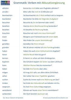 Verben mit Akkusativ Verben Mit Akkusativ, Deutsch Language, German Grammar, German Language Learning, Learn German, Montessori, Education, German Language, Languages