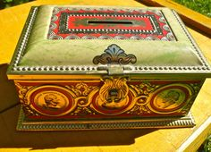 Vintage German Tin Vintage Covered Tin Ornate by CasaKarmaDecor, $22.00