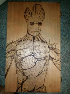 A woodburning pyrography picture I did of groot from guardians of the galaxy