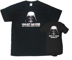 Darth Vader Coolest Dad Ever and Who's Your Daddy Father T-Shirt Son Bodysuit Matching Set First Father's Day Funny Baby Shower Gift Idea. $32.50, via Etsy.