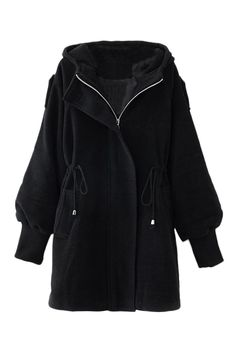 Love the Sleeve Design and the Side Ties! Cozy ROMWE | Black Drawstring Hoodied Coat, The Latest Street Fashion