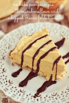 This marshmallow pumpkin pie is light, and fluffy, and tastes like pumpkin pie and whipped cream all in one.  Get the recipe at www.kitchenm...