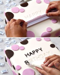 Cake Boss Letter Impression Set Image Sweet messages from the heart — easily personalize fondant or buttercream covered cakes and cupcakes with names, initials, anniversary or birthday messages and dates with this letter and alphabet stamp set. Cakes To Make, How To Make Cake, Cake Decorating Techniques, Cake Decorating Tutorials, Cookie Decorating, Decorating Ideas, Beginner Cake Decorating, Fondant Cakes, Cupcake Cakes