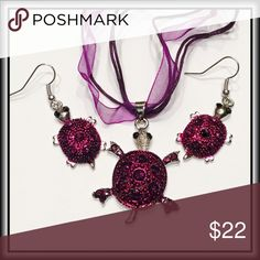 """TURTLE NECKLACE & EARRING SET Unique, flirty and fun, these deep purple turtles are ready to add a bit of colorful class to your outfit.  Mama TURTLE is ~1 ¼"""" x 1 ½""""  Baby Turtles are ~ ¾"""" x 1""""  Whimsical ribbon & cord 'chain' is ~ 18"""" w/2"""" extender when straightened out. Jewelry Necklaces"""