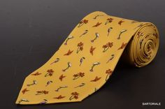 RUBINACCI Napoli Made In Italy Yellow Bird & Floral Pattern Silk Classic Tie NEW