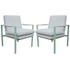 Incredible Pair of Mint Green and White Velvet Lounge Chairs | From a unique collection of antique and modern lounge chairs at https://www.1stdibs.com/furniture/seating/lounge-chairs/