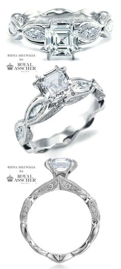 LEGACY vintage-inspired platinum and #diamond #engagement #ring by Reena Ahluwalia, takes it's inspiration from the fabled jewelry-vault of Royal Asscher from 1920s-1930s, conjuring the old Hollywood glamour and romanticism.  Marquise shape buds form the shank of the ring, center Royal Asscher Cut diamond represents a bloom with promise of new future and creation of lasting legacy together.