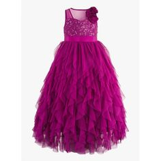 Girls purple sequinned ballgown.  Sequins embellishment at the front bodice for an elegant look. Satin sash belt tie-up for easy wearing & better fit. Cotton lining at the bodice for skin comfort.