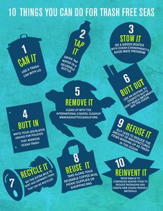 Ocean Conservancy - 10 things you can do for trash free seas. We'll add number 11 as shop for environmentally friendly products such as cmntyclothing.com #cmnty♡✿PM