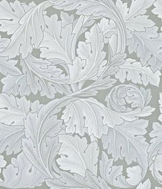 Acanthus (212553) - Morris Wallpapers - A large scale curvaceous foliage leaf design, originally created in 1874. Shown in the silver grey colourway.  Please request sample for true colour match.