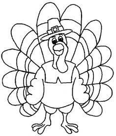 Turkey Coloring Pages For Kids - http://fullcoloring.com/turkey-coloring-pages-for-kids.html