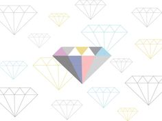 Freebies! Diamonds desktop wallpaper by Fern Choonet :) Available from M + T + H blog. Enjoy! #illustration #design  http://milktoasthoneyblog.blogspot.jp/